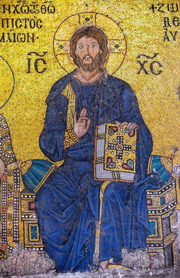 ISTANBUL, DIE TÜRKEI - 20. NOVEMBER: Ein byzantinisches Mosaik, das Jesus Chri zeigt lizenzfreies stockfoto