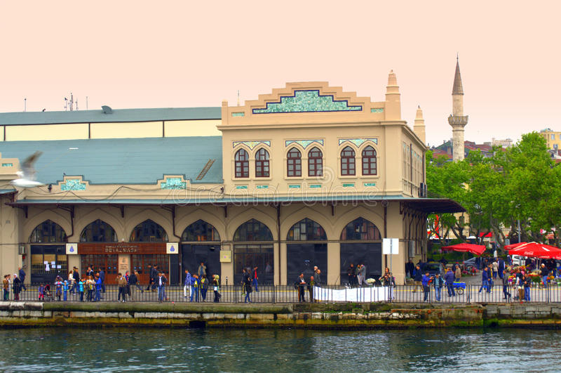 Istanbul embankment buildings. And people promenading,Turkey royalty free stock image