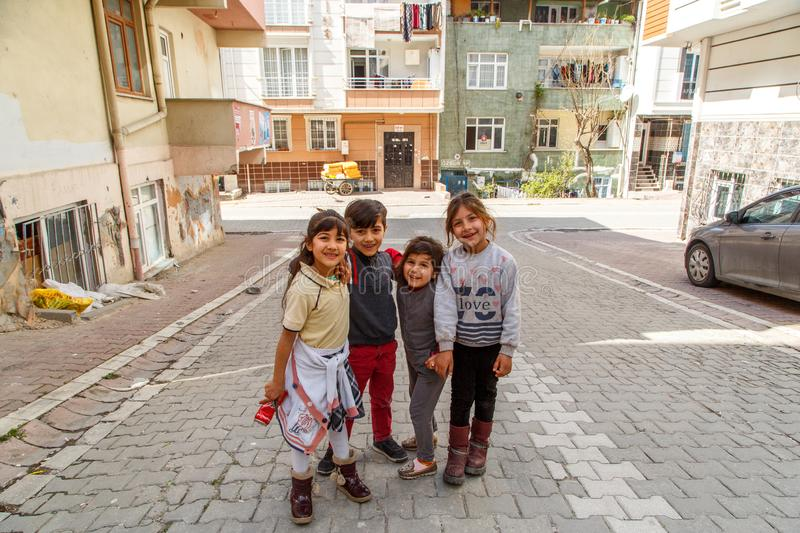 Istanbul;Esenyurt/Turkey-03.19.2019:children play in the streets of Istanbul and pose for the photographer royalty free stock images
