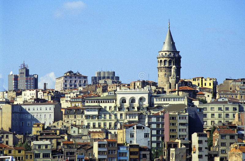 Istanbul Galata. Galata district and its tower in modern european city of Istanbul, Turkey royalty free stock images