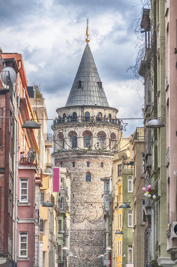 Istanbul Galata Tower. The Galata Tower is one of Istanbul's most visited tourist attractions royalty free stock image