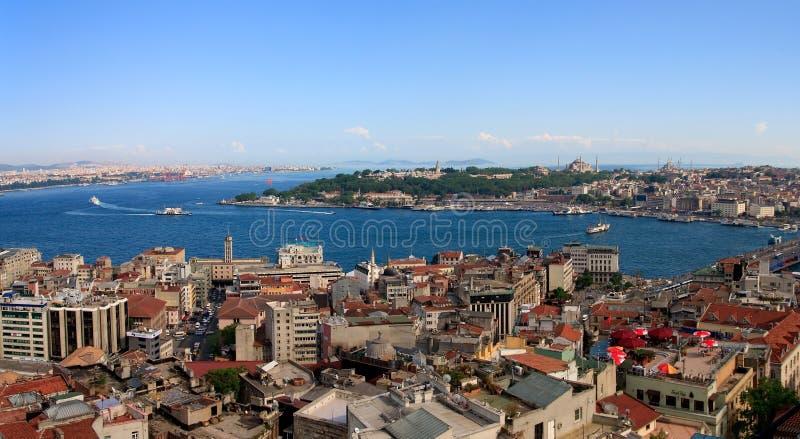 Istanbul-goldenes Hupen-Panorama stockfotografie