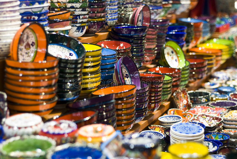 Istanbul gran bazaar. Coloured dishes in istanbul's gran bazaar stock image