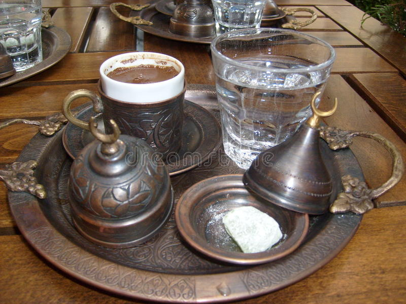 Istanbul grand bazaar also enjoy coffee, authentic cup in the service was great royalty free stock photography