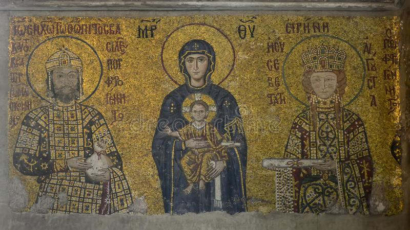 Istanbul, Hagia Sophia. Mosaic depicting the Virgin Mary with Jesus in her arms, Emperor John II and Empress Irene. Istanbul, Turkey - September 19 - 2018: Hagia royalty free stock images