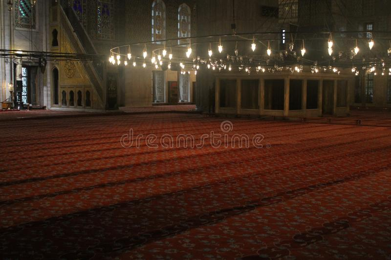 Istanbul - Inside Blue Mosque royalty free stock photos