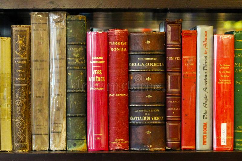 Istanbul, Istiklal Street / Turkey 15.05.2019: Antique Book Collections, Bookshelf View stock photos