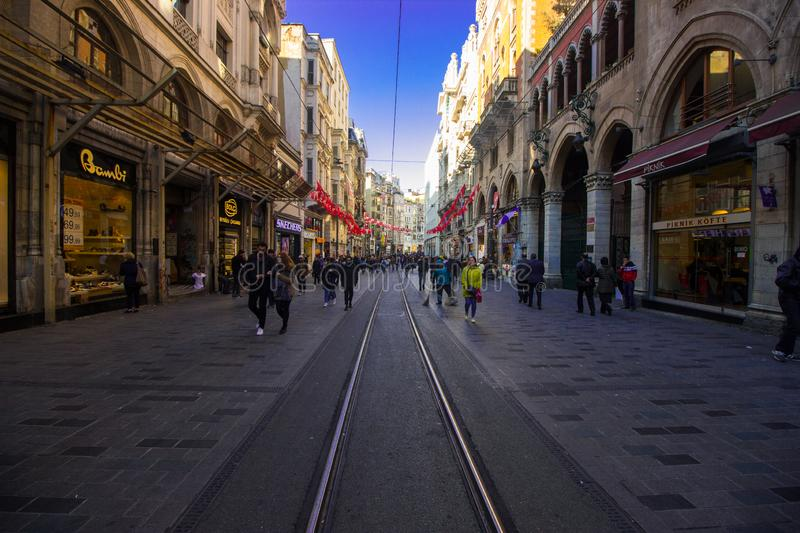 Istanbul, Istiklal Street Turkey 04.04.2019 Spring time royalty free stock photography