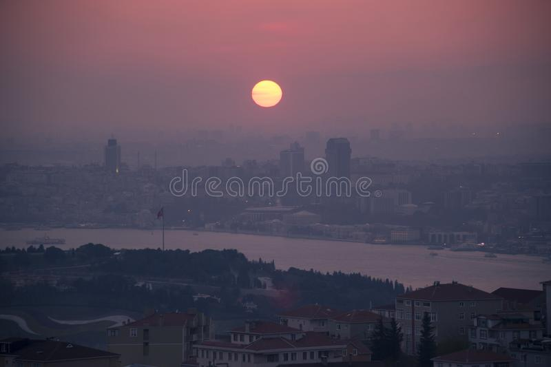 Istanbul landscape from Camlica Mosque royalty free stock image