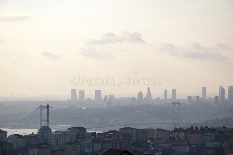 Istanbul landscape from Camlica Mosque royalty free stock photography