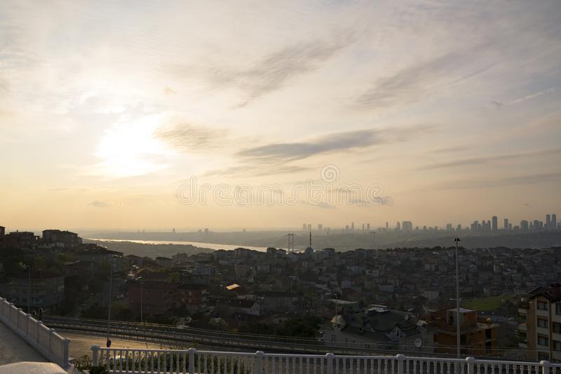 Istanbul landscape from Camlica Mosque stock image
