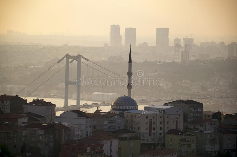 Istanbul landscape from Camlica Mosque royalty free stock photo
