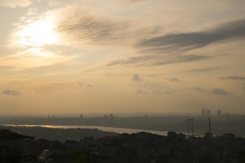 Istanbul landscape from Camlica Mosque stock photo