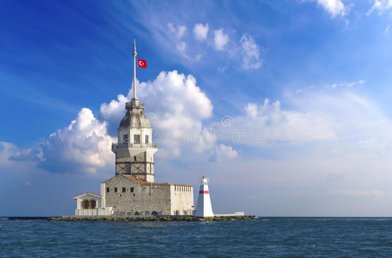 Istanbul maiden`s tower. On the nice cloudy backround royalty free stock image