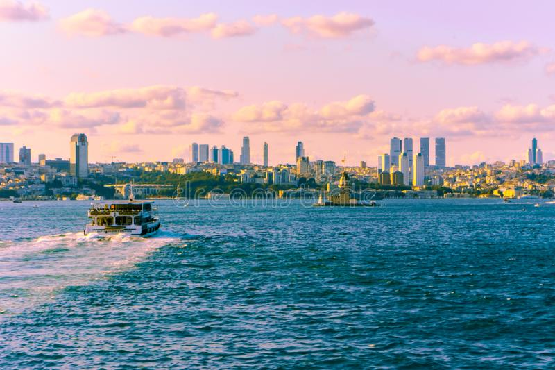 Istanbul and maiden tower stock photography