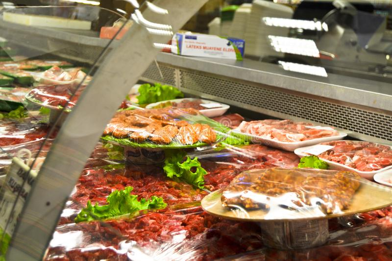 Happy Center super markets chain Istanbul Maltepe. Istanbul Maltepe Happy Center super markets chain, the butcher section stock photos