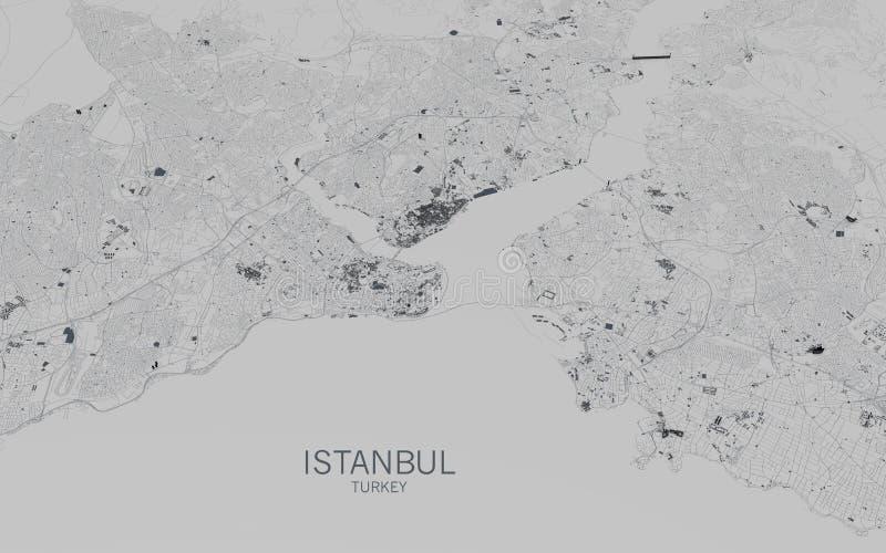 Istanbul map, satellite view, city, Turkey royalty free stock image