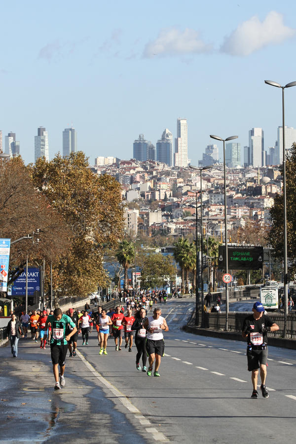 38. Istanbul Marathon. ISTANBUL, TURKEY - NOVEMBER 13, 2016: Athletes running in 38. Istanbul marathon which includes two continents in one race. Marathon starts royalty free stock image