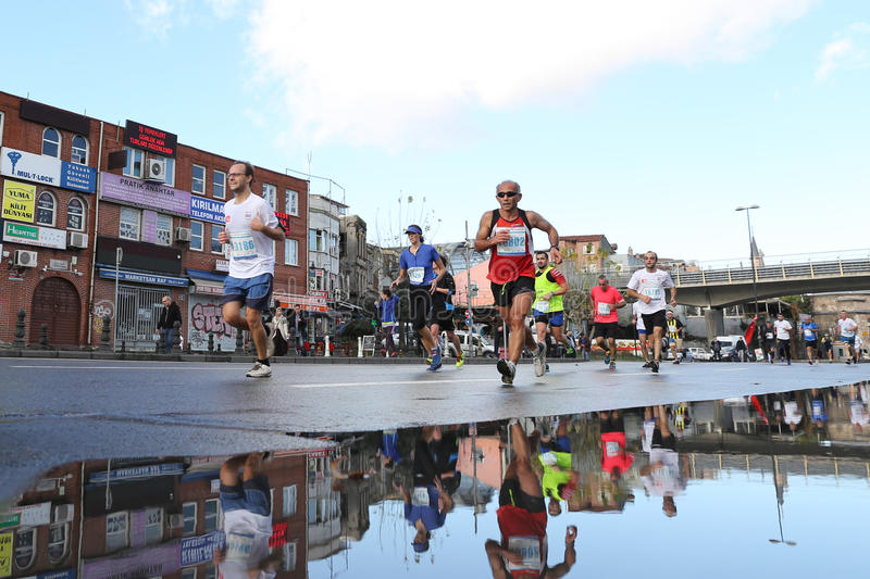 38. Istanbul Marathon. ISTANBUL, TURKEY - NOVEMBER 13, 2016: Athletes running in 38. Istanbul marathon which includes two continents in one race. Marathon starts royalty free stock images