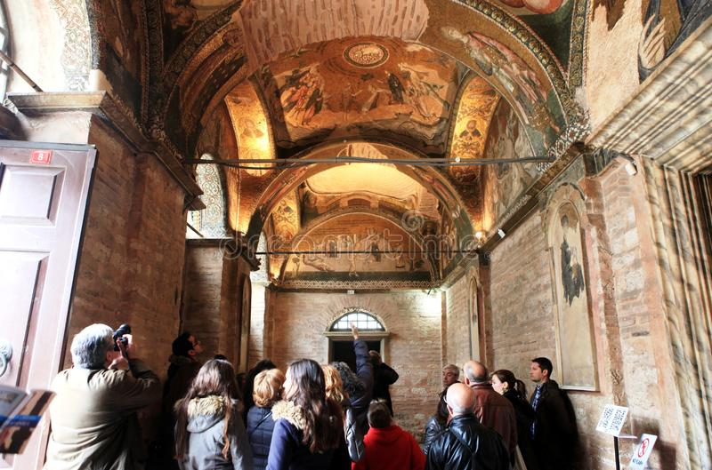 Interior view of Chora Church royalty free stock photo