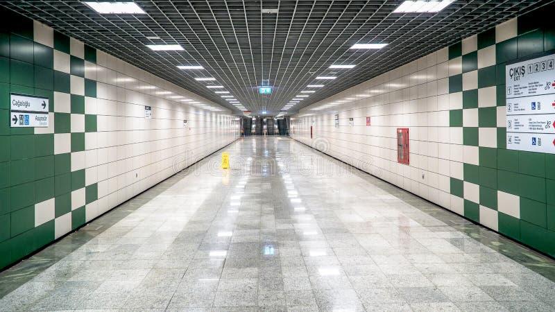 Istanbul metro Sirkeci station corridor royalty free stock photo