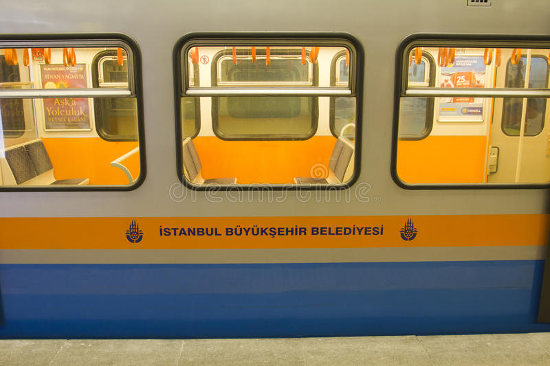 Istanbul metro train. The Istanbul Metro is a rapid transit railway network that serves the city of Istanbul, Turkey. It is operated by Metro Istanbul the new royalty free stock images