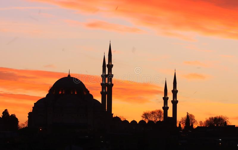 Istanbul-Mosque silhouette. Suleymaniye Mosque Silhouette in Istanbul, Turkey stock photos