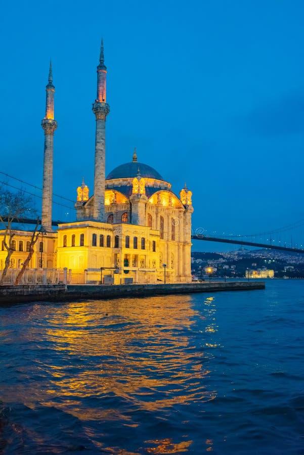 Istanbul Ortakoy Mosque and Bosphorus Bridge. Istanbul beautiful night Ortakoy Mosque and Bosphorus Bridge, Istanbul Turkey. Best touristic destination of royalty free stock photography