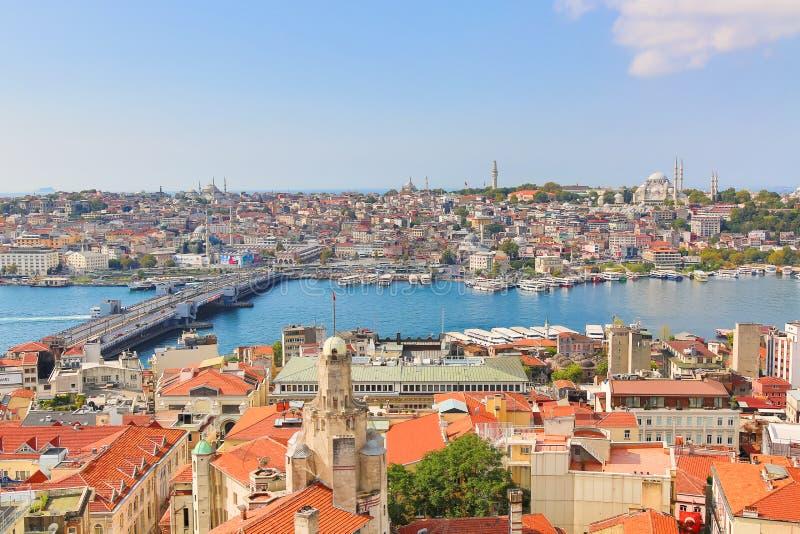 Istanbul panorama från det Galata tornet under solig dag för sommar Istanbul Turkiet royaltyfri bild