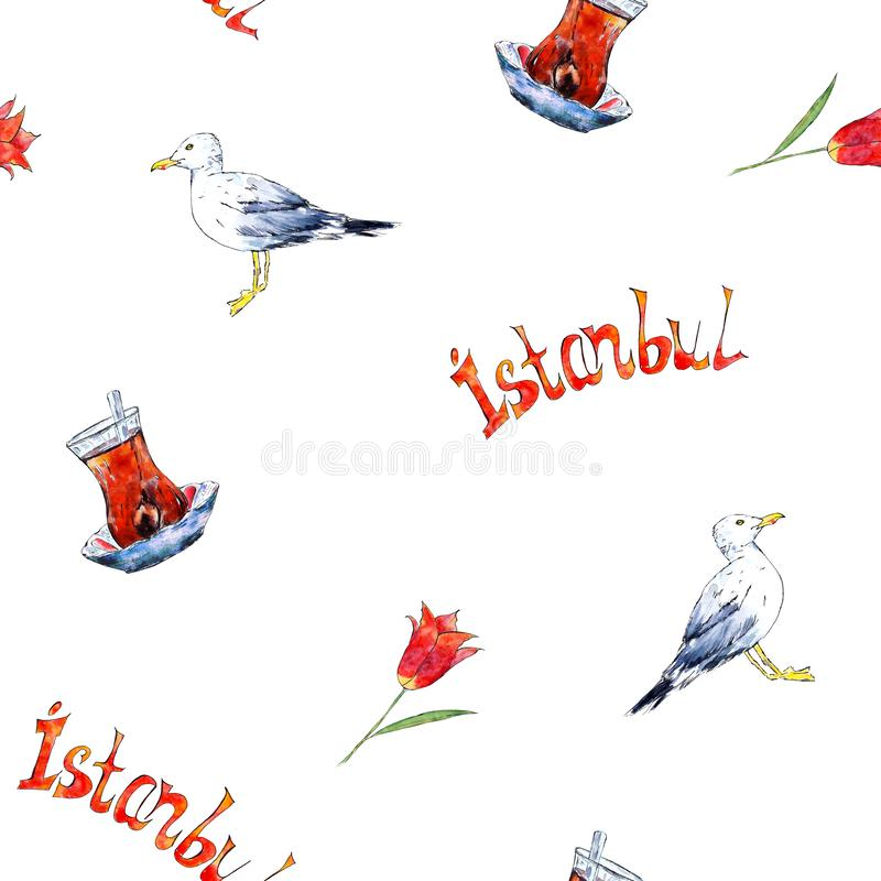 Istanbul seamless pattern with hand drawn sketch elements stock illustration