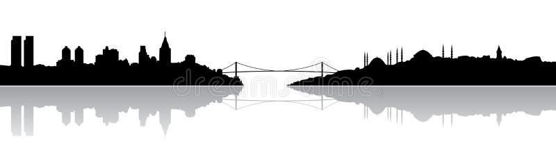 istanbul silhouette royaltyfri illustrationer