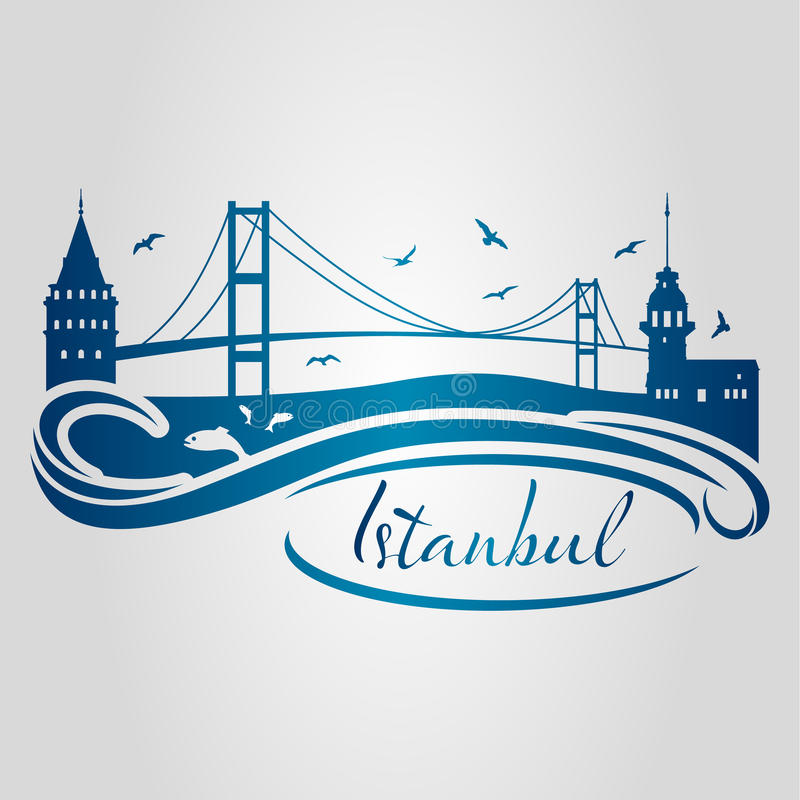 Istanbul silhouette2 stock abbildung