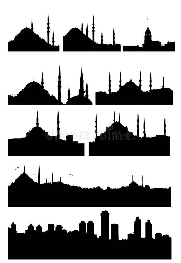 Istanbul silhouettes vector illustration