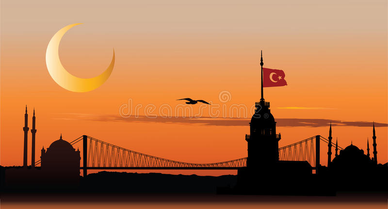 istanbul silhouettesolnedgång royaltyfri illustrationer