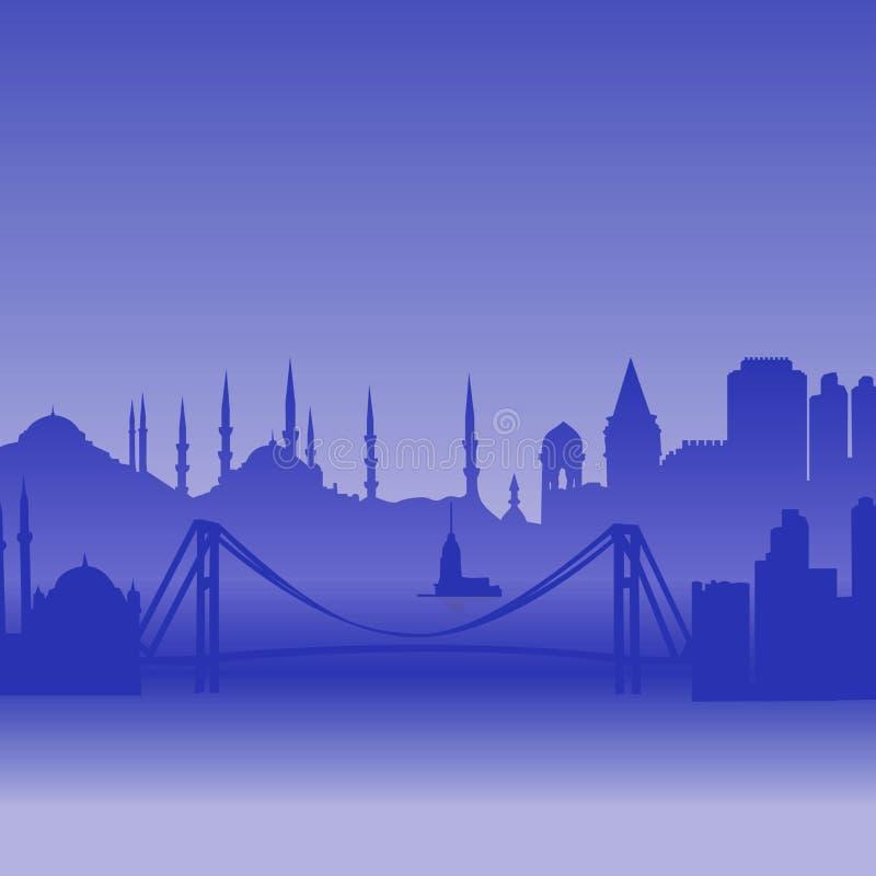 istanbul silhouettevektor royaltyfri illustrationer