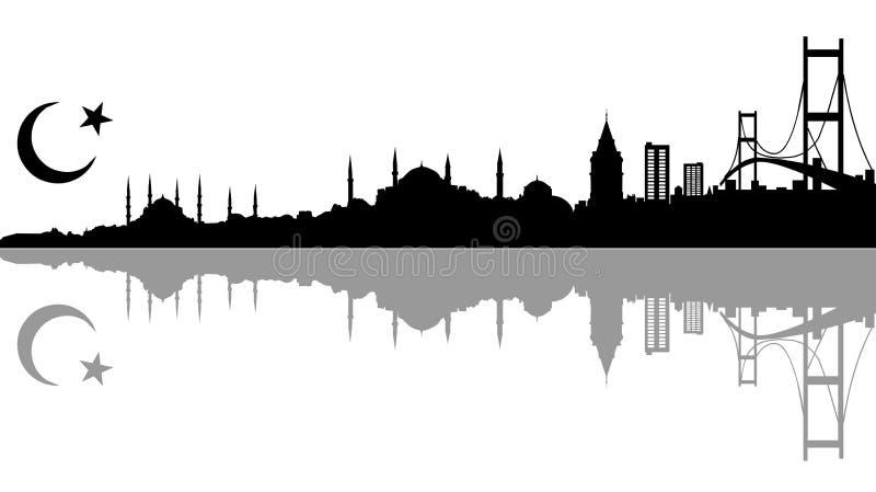 istanbul silhoutte royaltyfri illustrationer