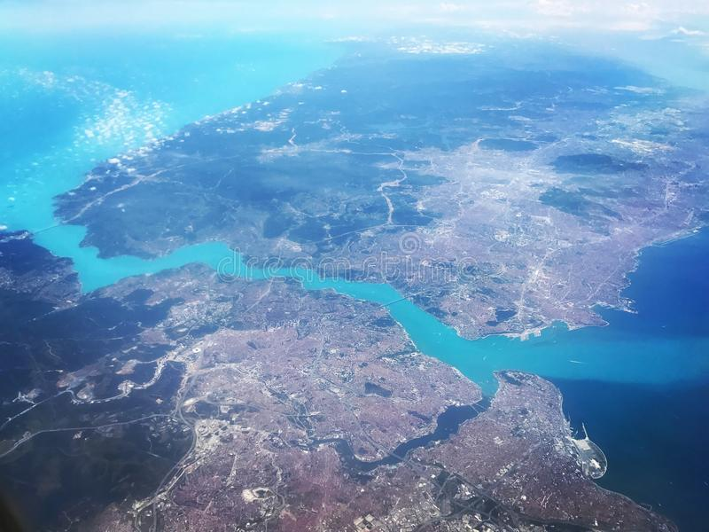 Istanbul and bosphorus. Istanbul sky view, view from board, bosphorus from the sky royalty free stock images
