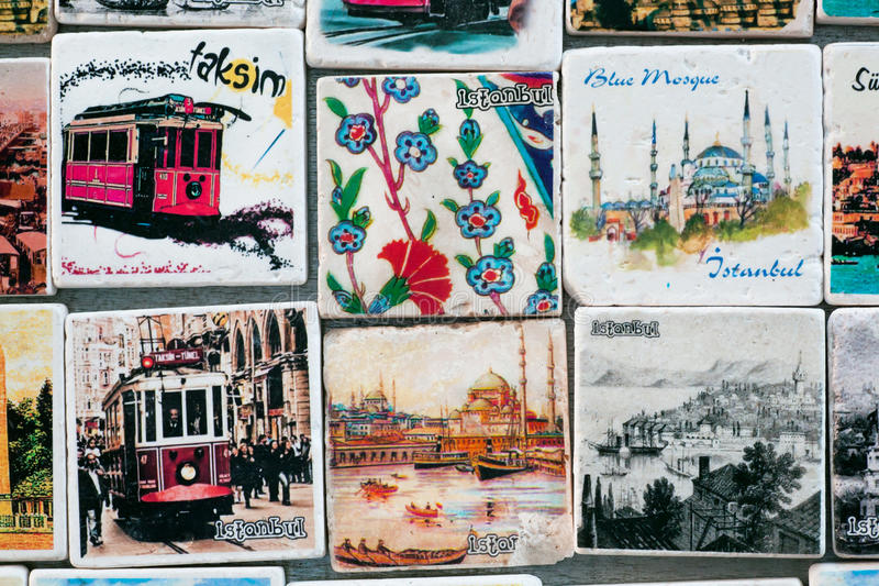 Istanbul souvenir store with colorful patterns on magnets. In Ottoman tile style royalty free stock photos