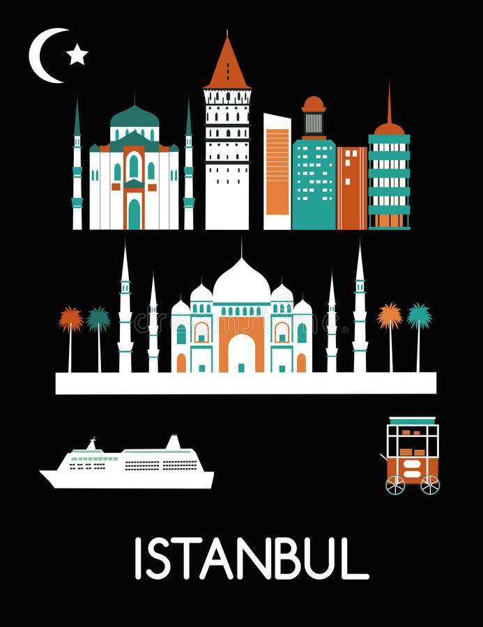 Istanbul stad stock illustrationer