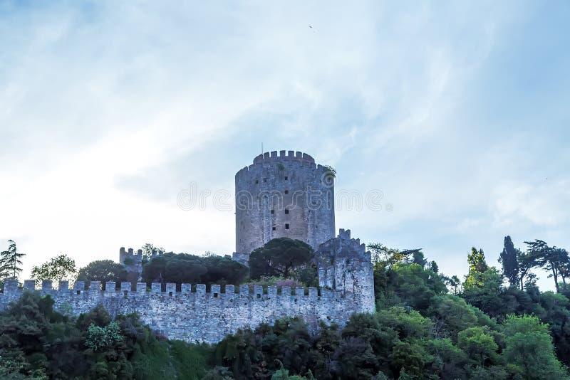 Istanbul-Stadt Die Türkei-Markstein Rumeli-Festung in Bosphorus Stra lizenzfreie stockfotos