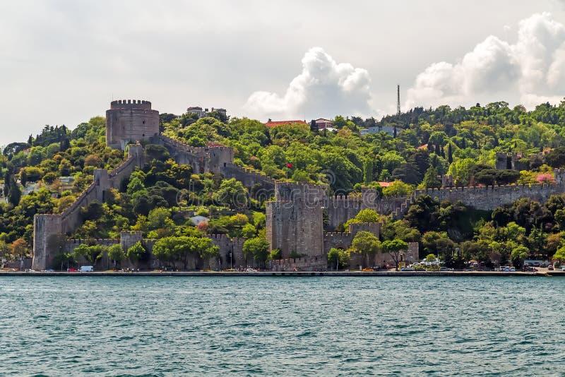 Istanbul-Stadt Die Türkei-Markstein Rumeli-Festung in Bosphorus Stra lizenzfreie stockfotografie