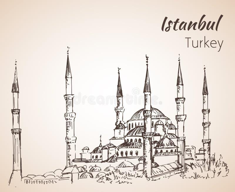 Istanbul Sultan Ahmed Mosque - blaue Moschee Die Türkei lizenzfreie abbildung