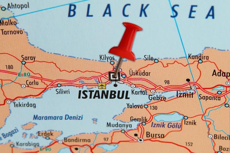 Istanbul sur une carte photo libre de droits