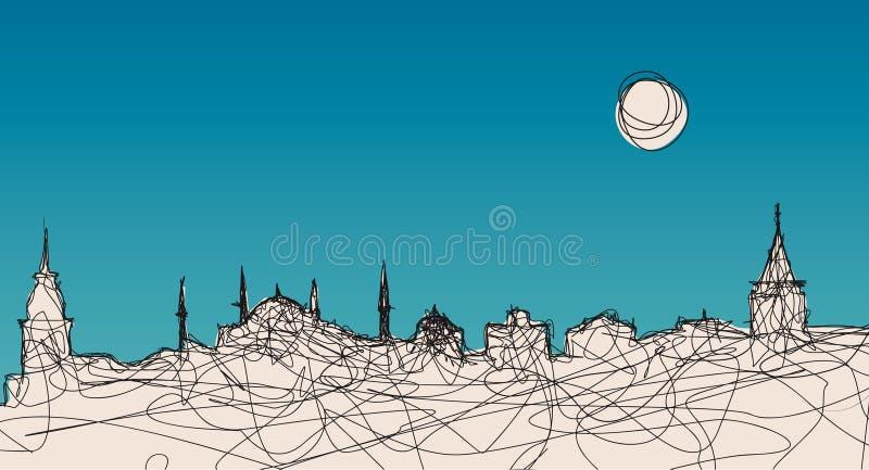 istanbul sylwetka royalty ilustracja