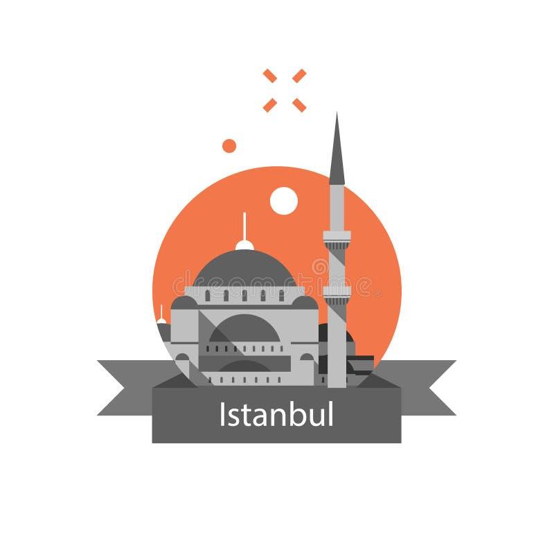 Istanbul-Symbol, Sultan Ahmed Mosque oder blaue Moschee, berühmter Markstein, die Türkei-Reiseziel, Kultur und Architektur lizenzfreie abbildung