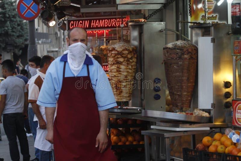 Istanbul Taksim protester fotografering för bildbyråer