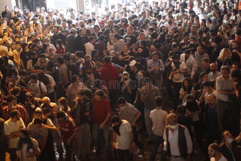 Istanbul Taksim protester arkivbild