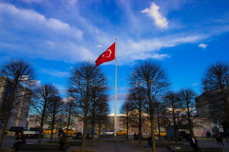 Istanbul, Taksim Square / Turkey, 04.11.2019: Turkish Flasg, Rebuplic of Turkey, Turkish Flag Waving in The Blue and Bright Sky royalty free stock images