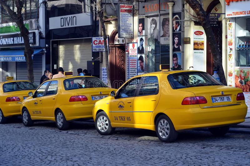 Istanbul taxi. ISTANBUL, TURKEY - JAN 20, 2013 - Yellow Taxi cabs in Istanbul, Turkey royalty free stock images