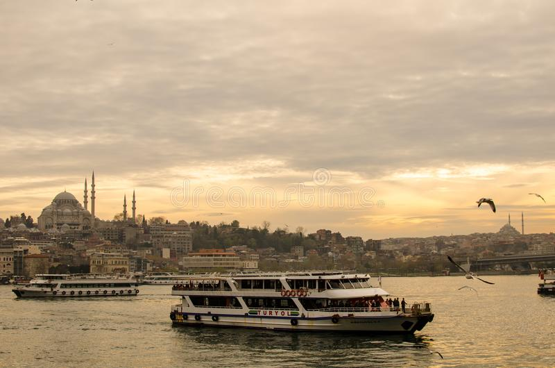 Istanbul and tourism IV. Eminonu Golden Horn, Istanbul Turkey, March 15, 2018, Turkish passenger ships cross the golden horn stock images